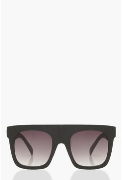 Womens Matte Black Oversized Flat Top Sunglasses