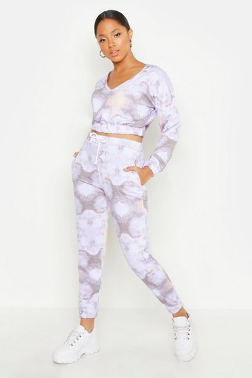 Womens Blue Crop Sweat Tie Dye Tracksuit