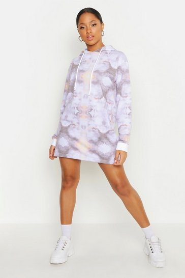 Womens Blue Tie Dye Hooded Mini Dress