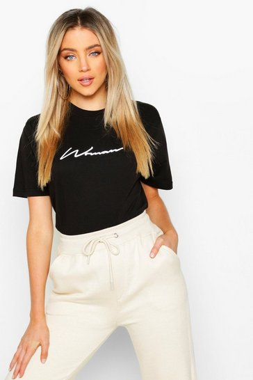 Womens Black Woman Script Reflective Print T Shirt