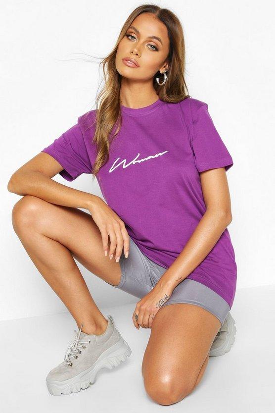 Woman Script Reflective Print T Shirt