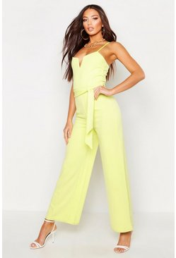 Lime V Bar Strappy Belted Jumpsuit