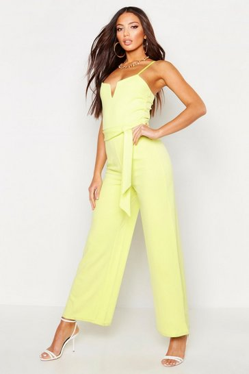 Womens Lime V Bar Strappy Belted Jumpsuit