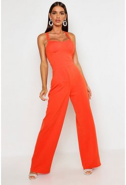 Womens Orange Cup Detail Cross Back Wide Leg Jumpsuit