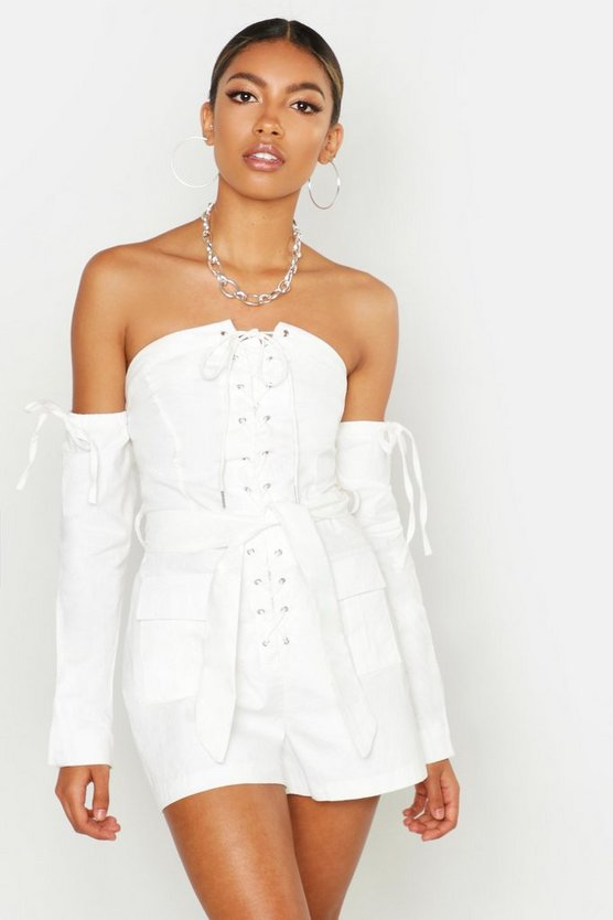 Womens White Lace Up Bardot Cargo Pocket Playsuit