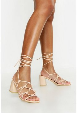 Nude Caged Wrap Strap Low Block Heels