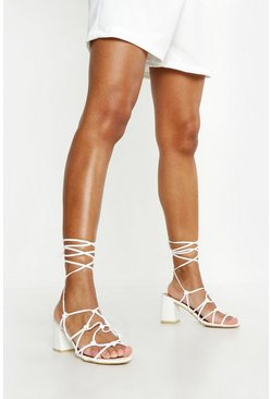 Womens White Caged Wrap Strap Low Block Heels