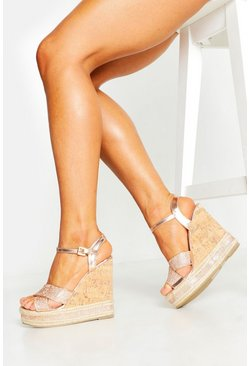 Rose gold Glitter Cross Strap Cork Wedges