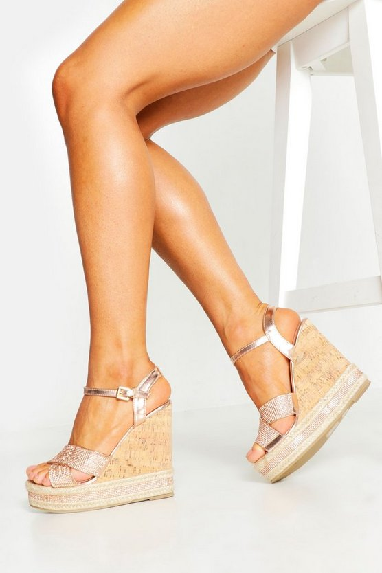 Womens Rose gold Glitter Cross Strap Cork Wedges