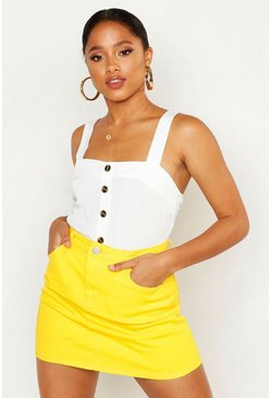 Womens Yellow Denim Stretch Mini Skirt