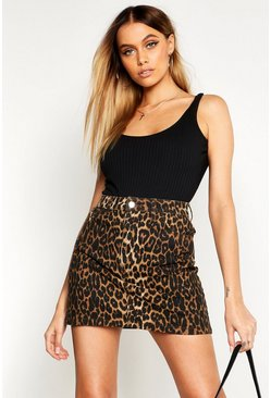 Womens Brown High Waisted Leopard Denim Mini Skirt