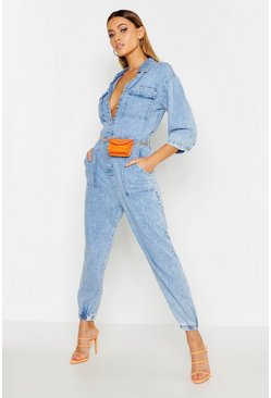 Womens Blue Acid Wash Pocket Denim Boilersuit