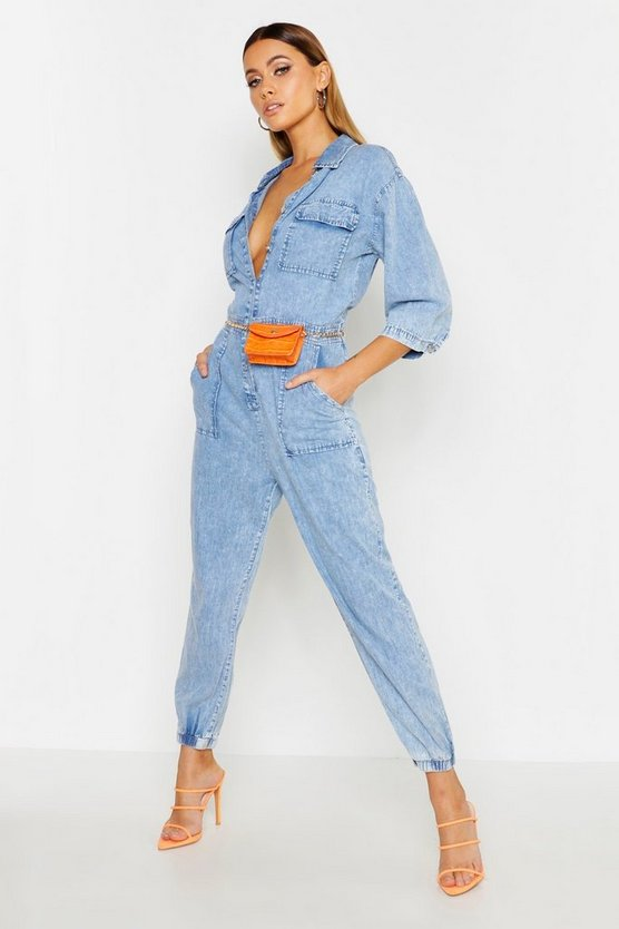 Acid Wash Pocket Denim Boilersuit by Boohoo