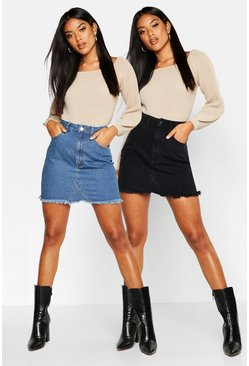 Black 2 Pack High Waist Denim Mini Skirt