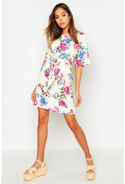 Womens Yellow Floral Tie Waist Short Sleeve Shift Dress
