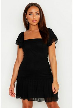 Black Ruffle Detail Square Neck Dress