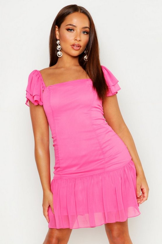 Womens Pink Ruffle Detail Square Neck Dress