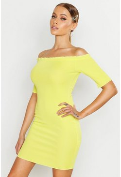 Womens Lime Rib Lettuce Edge Bardot Mini Dress