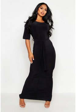 Womens Black Rouche Front Belted Maxi Dress