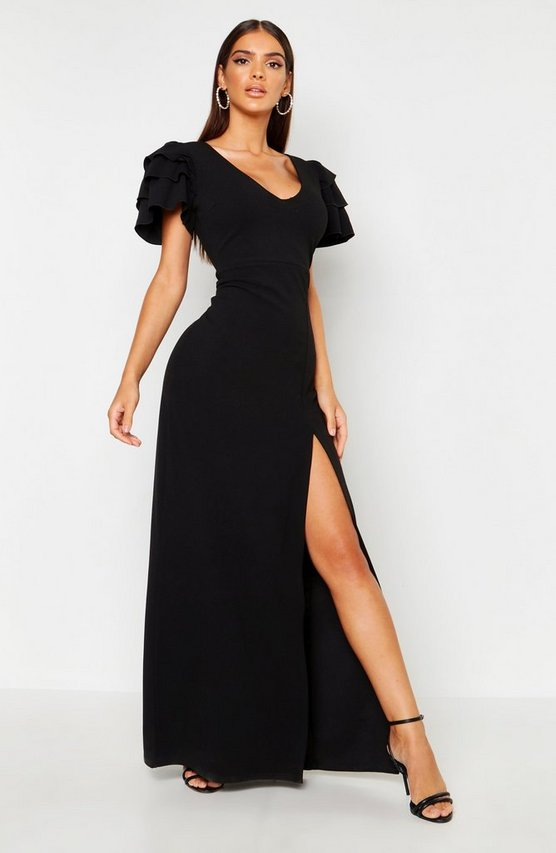 Womens Black Plunge Triple Ruffle Sleeve Split Maxi Dress
