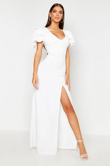 Womens Ivory Plunge Triple Ruffle Sleeve Split Maxi Dress