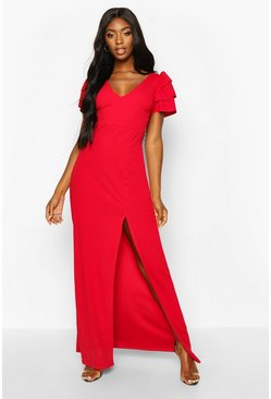 Womens Red Plunge Triple Ruffle Sleeve Split Maxi Dress