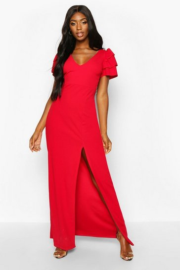 Red Plunge Ruffle Sleeve Maxi Bridesmaid Dress
