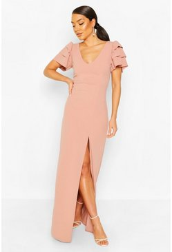 Soft pink Plunge Ruffle Sleeve Maxi Bridesmaid Dress