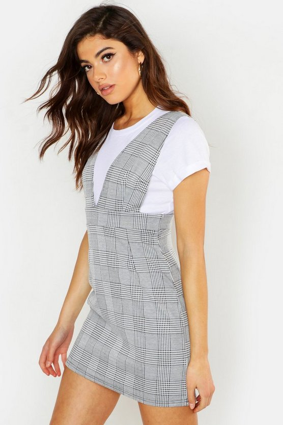 Grey Woven Plunge Check Pinafore Dress