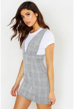 Womens Grey Woven Plunge Check Pinafore Dress