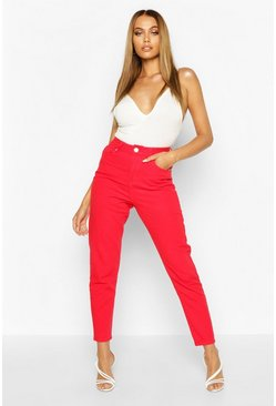 Womens Red High Rise Mom Jean