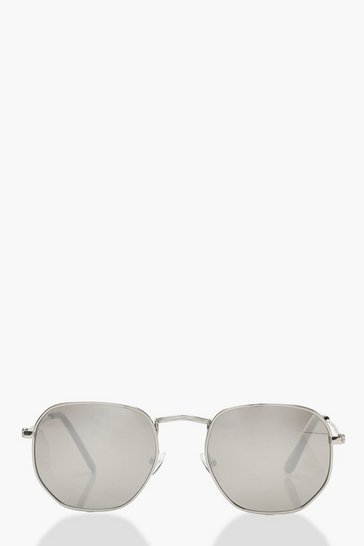 Womens Silver Mirrored Hexagon Sunglasses & Pouch