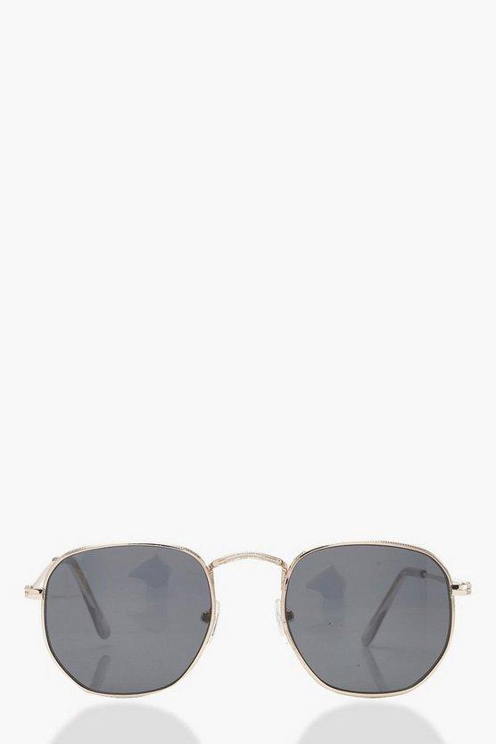 Slim Black Hexagon Sunglasses With Pouch