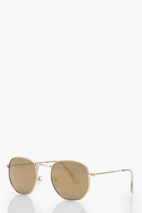 Slim Gold Hexagon Sunglasses With Pouch