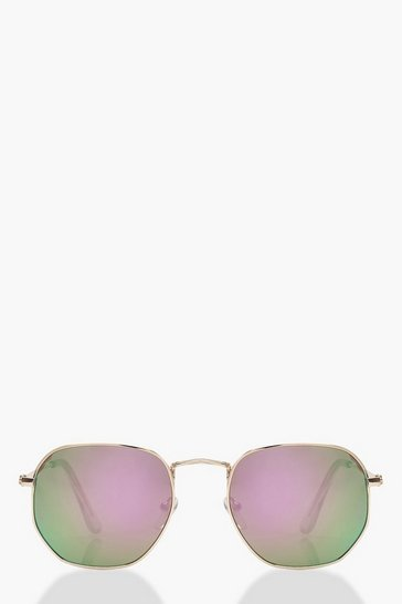 Womens Rose Gold Hexagon Sunglasses With Pouch