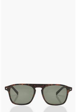 Womens Brown Tortoiseshell Bar Round Frame Sunglasses