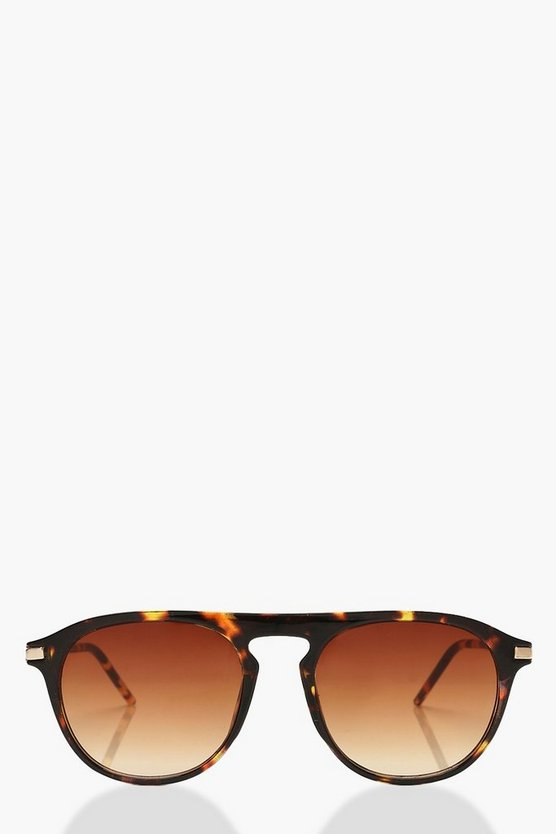 Brown Tortoiseshell Square Frame Sunglasses & Pouch