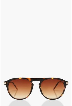 Womens Brown Tortoiseshell Square Frame Sunglasses & Pouch
