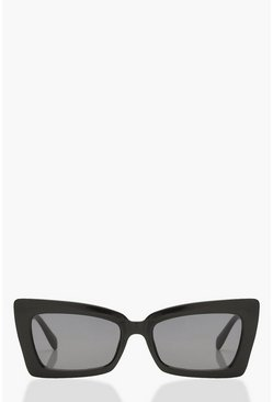 Womens Black Chunky Frame Oversized Rectangle Sunglasses