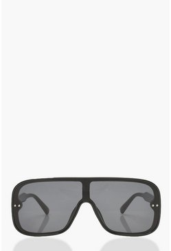 Womens Black Visor Style Rounded Oversized Sunglasses