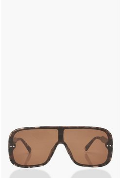 Dam Brown Visor Style Rounded Oversized Sunglasses