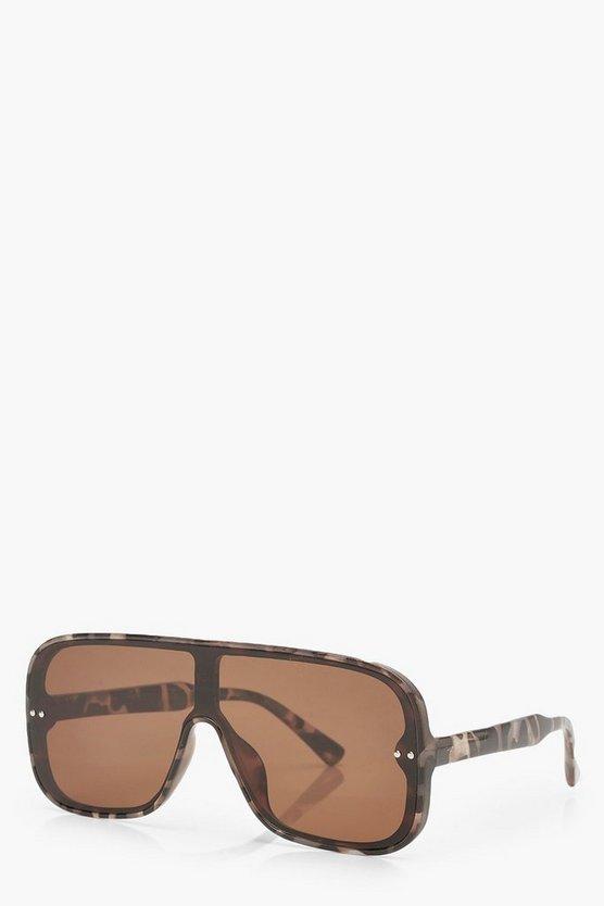 Visor Style Rounded Oversized Sunglasses