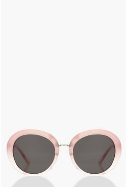 Womens Pale pink Pink Fade Oversized Round Sunglasses