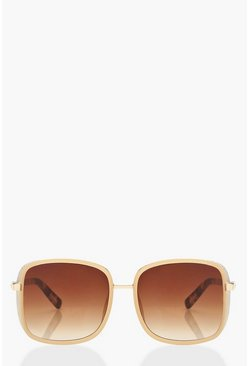 Dam Brown Glitter Frame Oversized Square Sunglasses