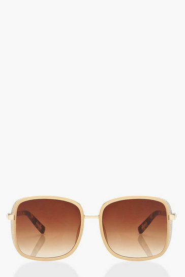 Womens Brown Glitter Frame Oversized Square Sunglasses