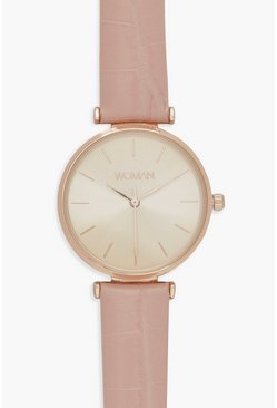 Womens Pale pink Faux Pink Snake Rose Gold Watch