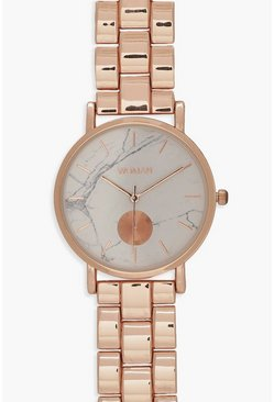 Womens Marble Face Rose Gold Bracelet Watch