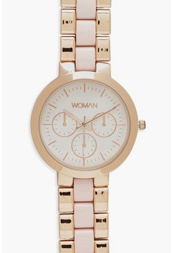 Womens Matte Contrast Rose Gold Bracelet Watch