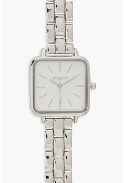 Womens Silver Square Face Bracelet Watch