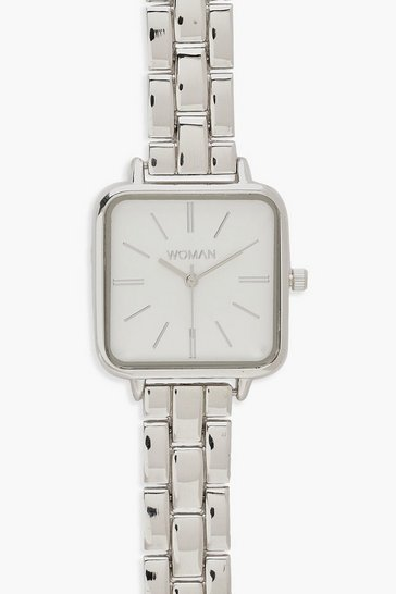 Silver Square Face Bracelet Watch